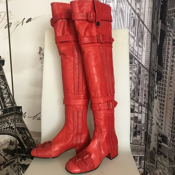 top style shop favorable price AUTHENTIC RED PRADA thigh high boots